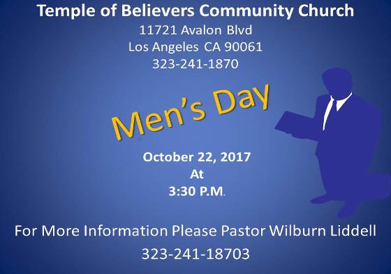 Temple of Believers Men's Day October 17