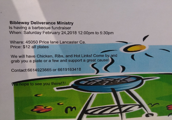 Bibleway Deliverance Ministry BBQ Fundraiser