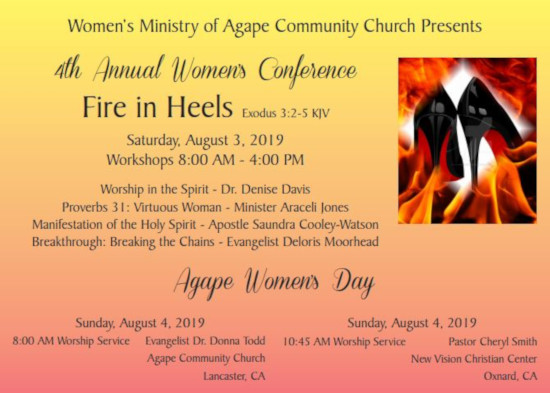 Agape Community Church Back Page Women's Conference 2019